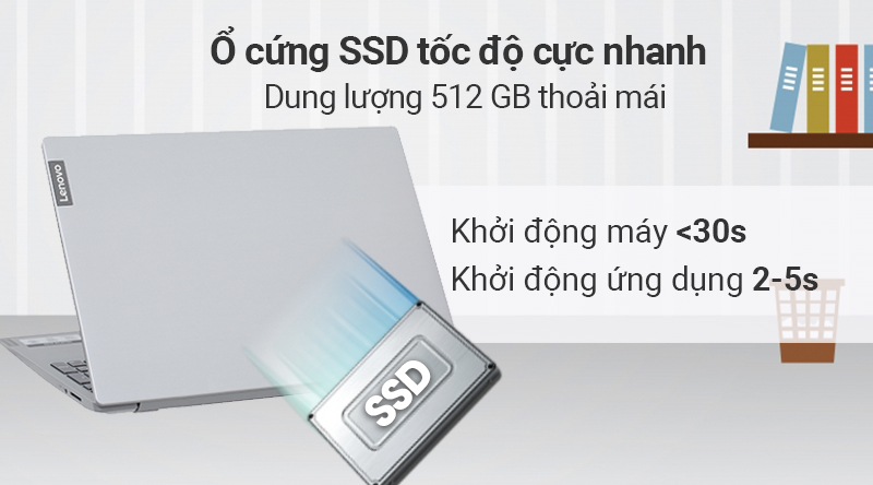 Laptop Lenovo Ideapad S145 15IWL i7 được trang bị ổ cứng SSD 512 GB